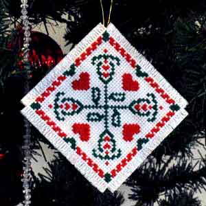 red green cross stitch christmas tree ornament - Cross Stitch Christmas Decorations