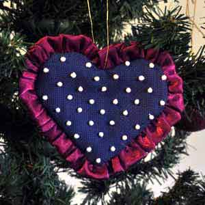 pearl heart embroidered christmas tree ornament - Embroidered Christmas Ornaments