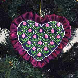 rose heart embroidered christmas tree ornament - Embroidered Christmas Ornaments